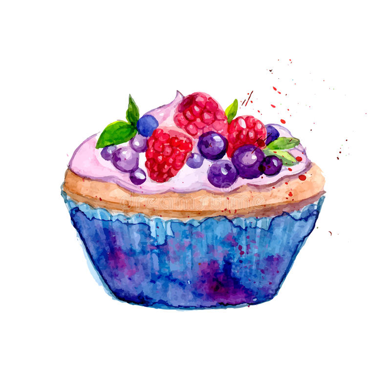 Bright watercolor tartlet illustration. Sweet vector dessert in blue package with berries: raspberry, blueberry and mint. royalty free illustration