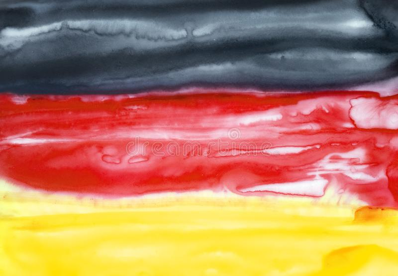 Bright watercolour illustration of Germany Flag. Horizontal tricolor of black, red and gold. Hand drawn graphic drawing on white. Beautiful backdrop for stock illustration