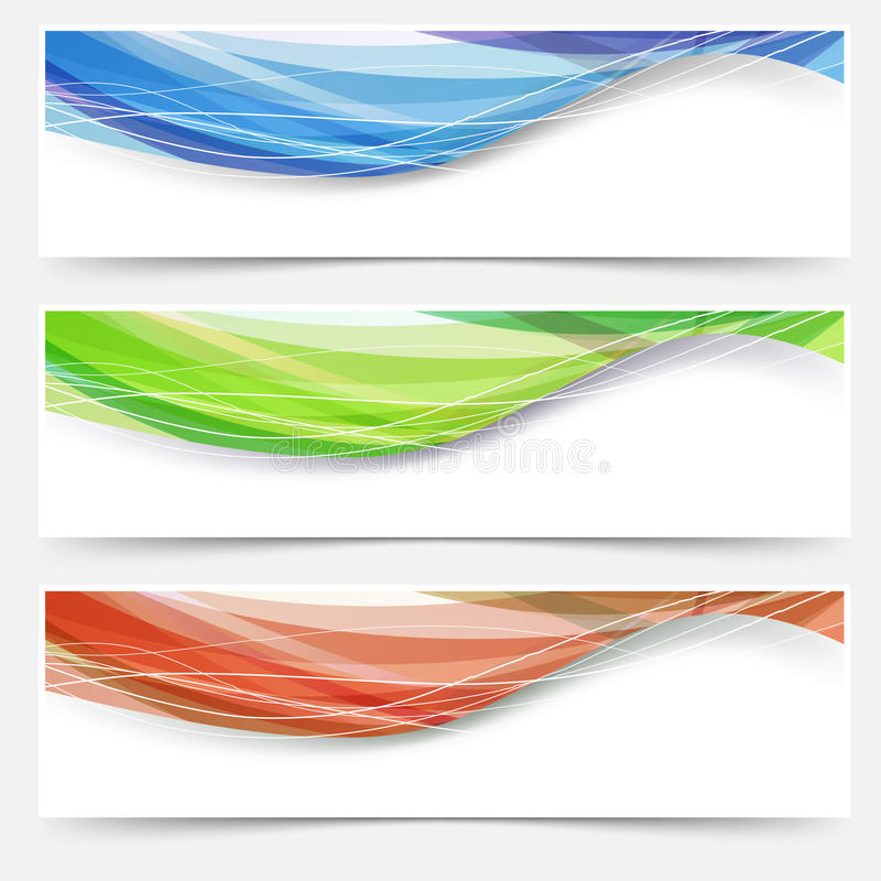Bright wave lines red blue green headers stock illustration