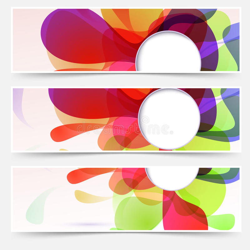 Bright web headers set - abstract liquid vector illustration