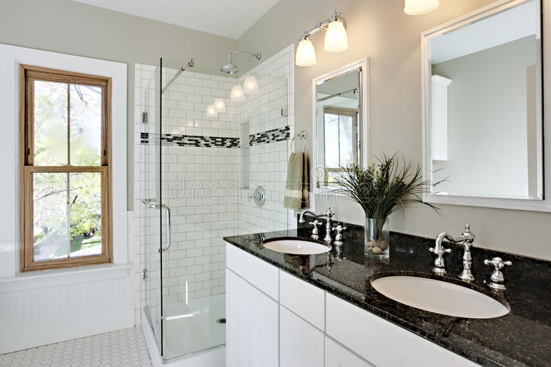 Bright white remodel bathroom stock photography image 14286062 for Average time to remodel a bathroom