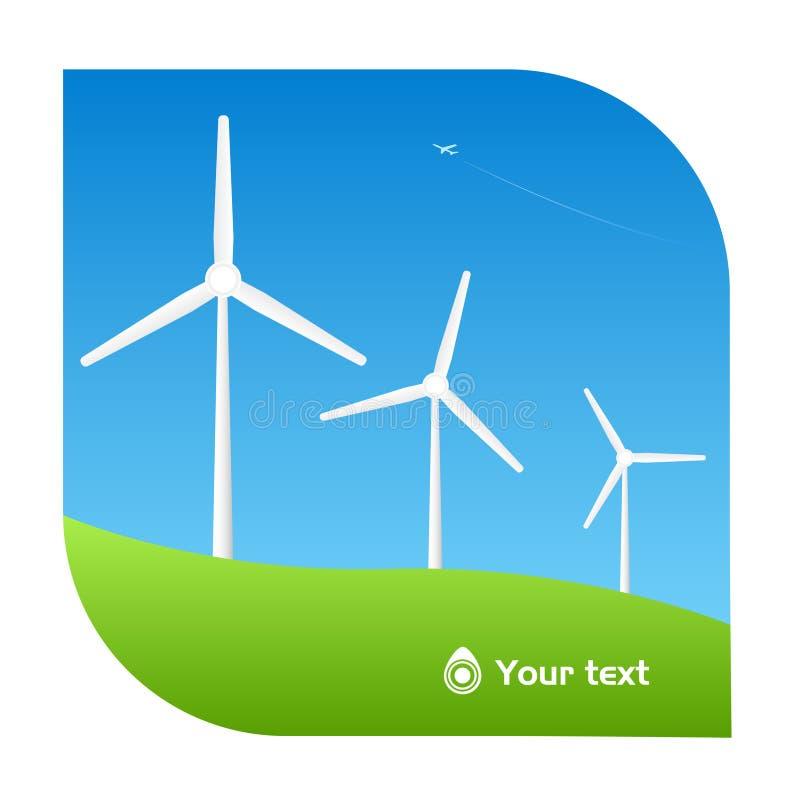 Bright windmill illustration royalty free illustration