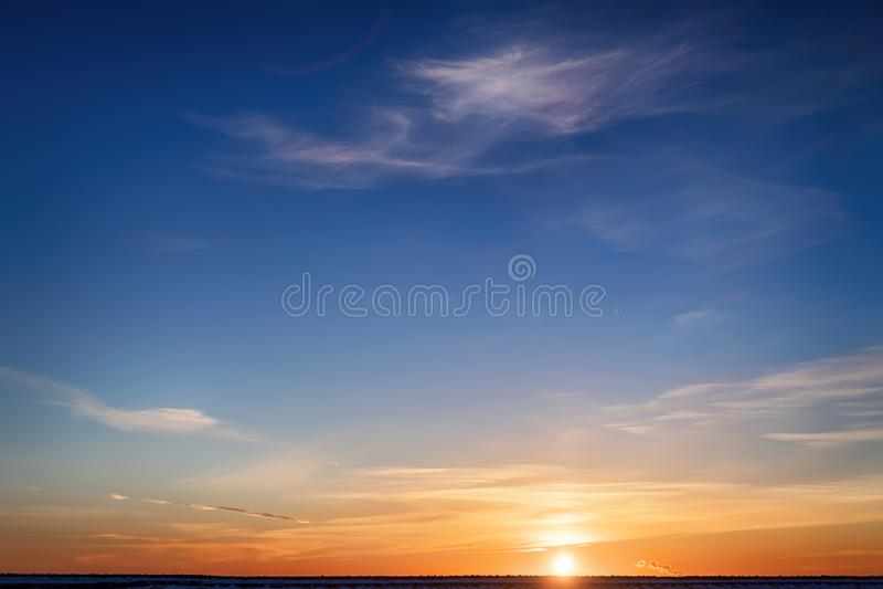 Bright winter sunset stock photos