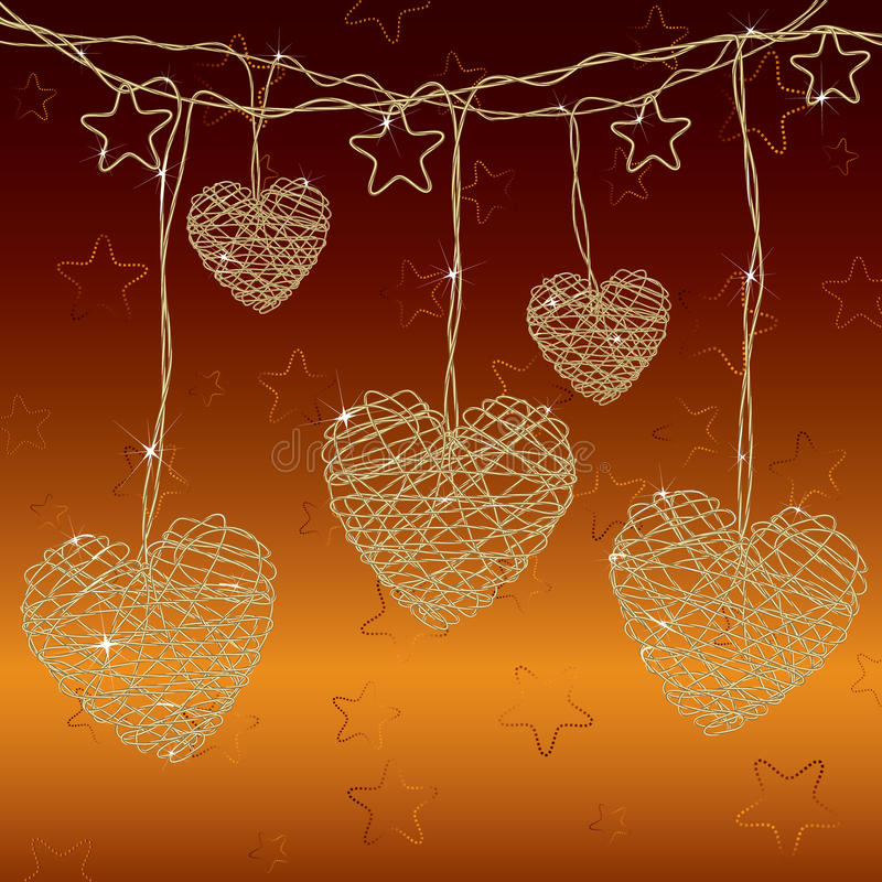 Bright wire hearts. Romantic background with bright wire hearts royalty free illustration