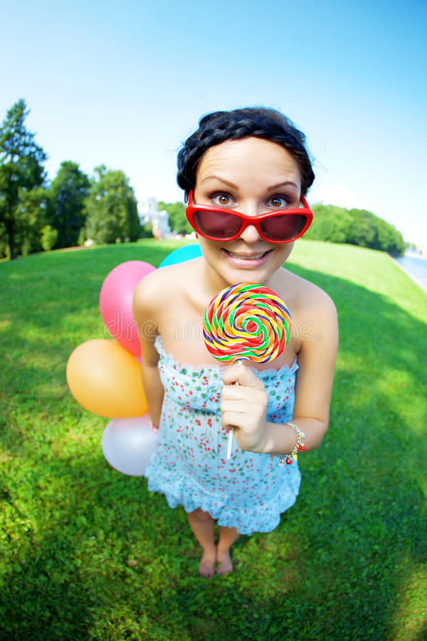 Bright Woman In Sunglasses Stock Photography
