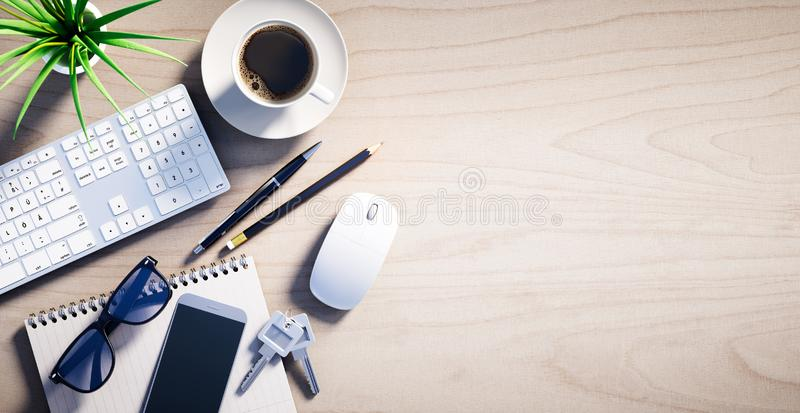 Top view of a wooden desktop with office accesoires stock illustration