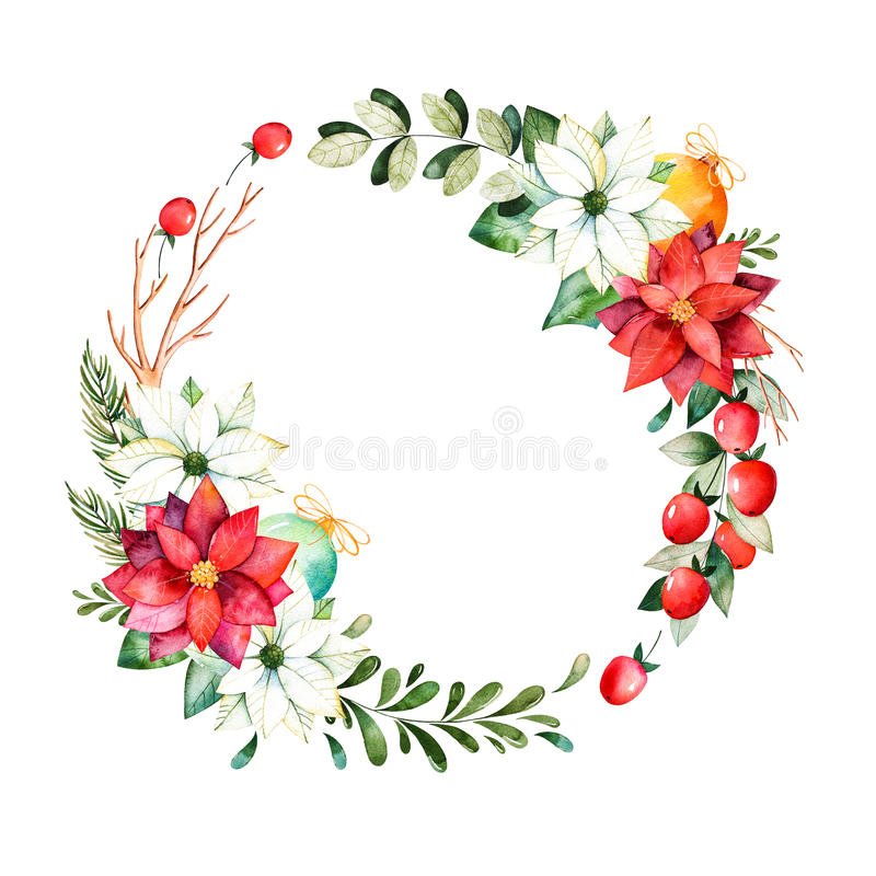 Bright wreath with leaves,branches,fir-tree,Christmas balls,berries,holly,pinecones,poinsettia. royalty free illustration