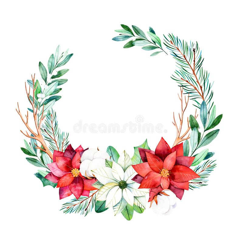 Bright wreath with leaves,branches,fir-tree,cotton flowers,pinecones,poinsettia. Christmas and New Year collection. Bright wreath with leaves,branches,fir-tree stock illustration