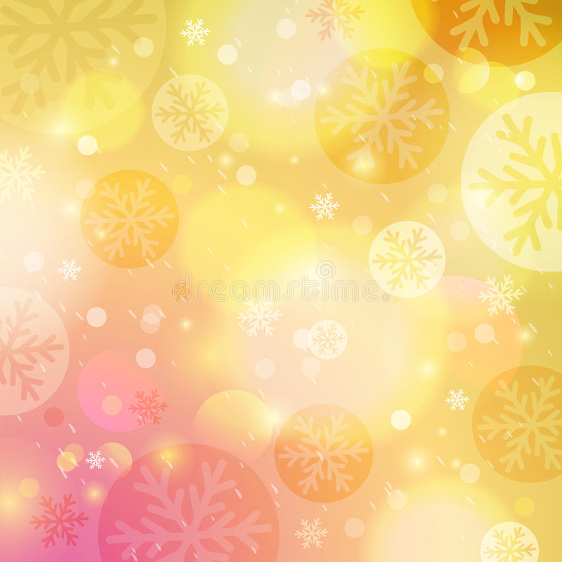 Bright yellow background with bokeh and snowflakes, vector vector illustration
