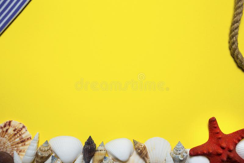 Bright yellow background in marine style with seashells, starfish and other marine attributes for cards, frames, visual advertisin. G royalty free stock photography