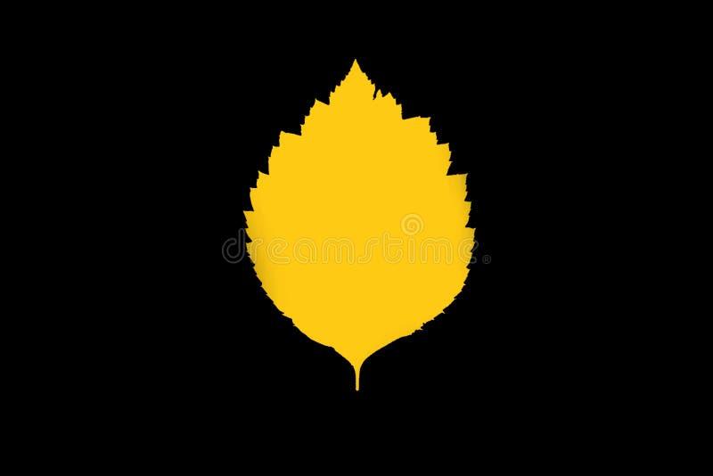 Bright yellow birch leaf on black background. Bright birch leaf on a ack background royalty free stock photo