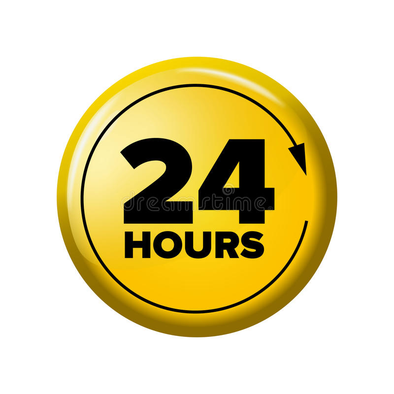 Bright yellow button with words `24 hours` and arrow. Work time circle label for posters and banners. Day-and-night open tag. Design element on white vector illustration