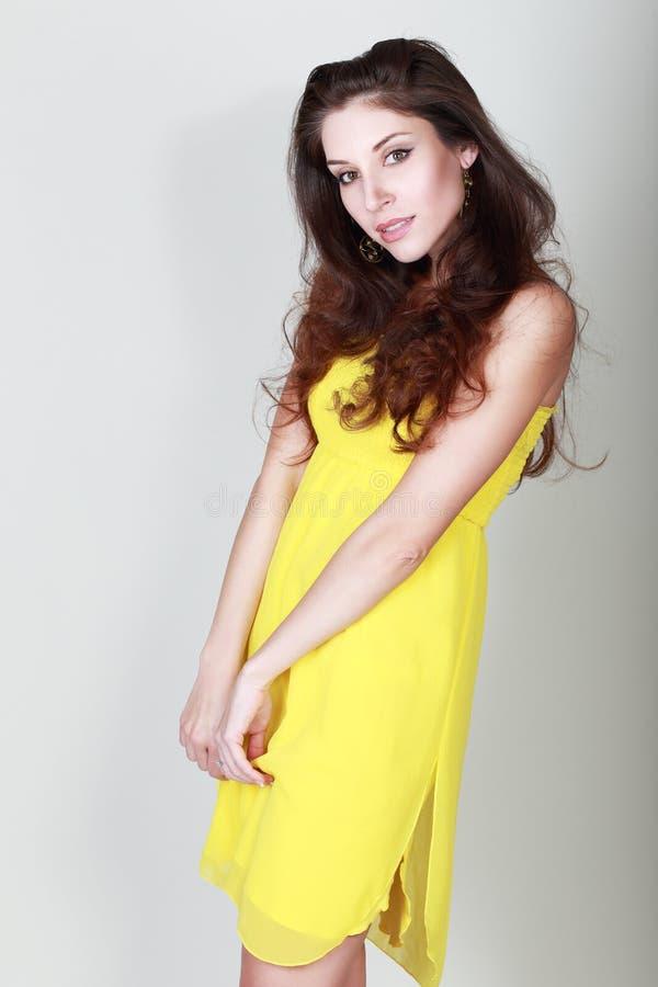 Bright yellow dress royalty free stock photos