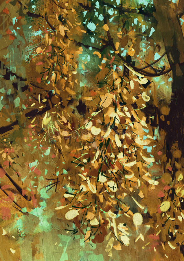 Bright yellow flowers on the branches in the autumn forest vector illustration