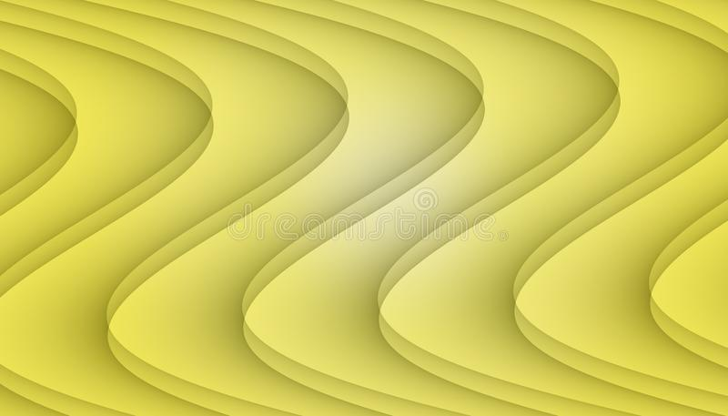 Bright yellow flowing symmetrical curves abstract background illustration. vector illustration