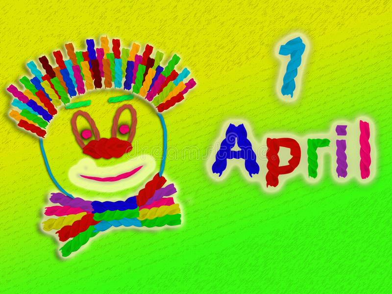 Bright yellow - green background with the face of a clown from pasta and the inscription of pasta on the first of April royalty free stock photos