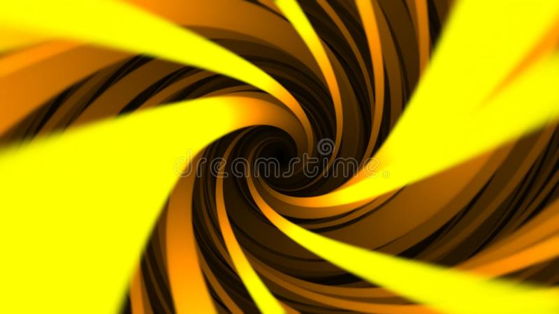 Bright yellow helix, endless rotation on abstract seamless loop background. Hypnotic spinning funnel with wide orange. Lines vector illustration