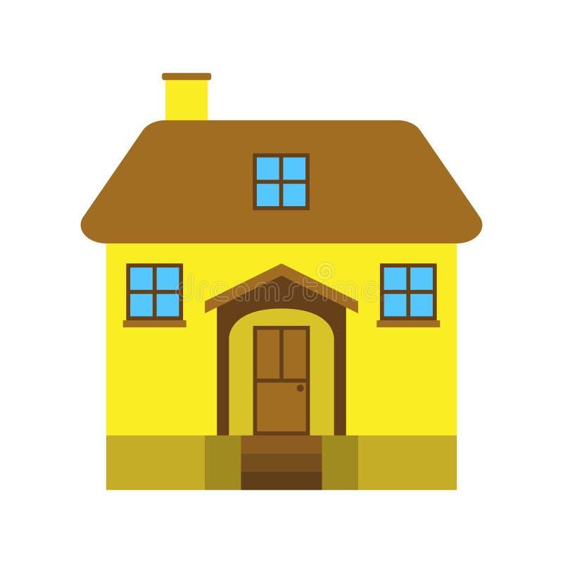 Bright yellow house stock illustration