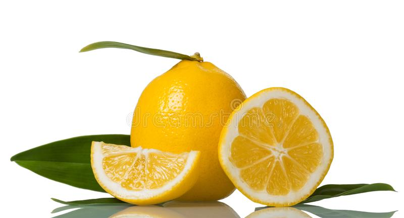Bright-yellow lemon with leaf, next slices of citrus fruit isolated on white stock photography