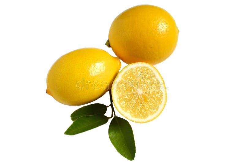 Bright yellow lemons half lemon and lemon leaves on white isolate background royalty free stock photography