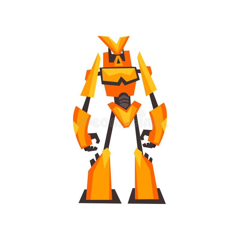 Bright yellow-orange robot transformer with claw hands. Fantasy metal monster. Isolated flat vector design stock illustration