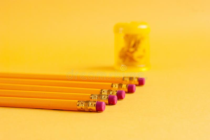 Bright yellow pencils with a sharpener for studying, drawing, hobbies on a yellow background stock images
