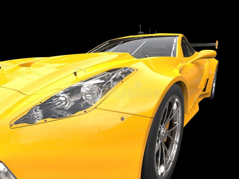 Bright yellow race car - headlight closeup shot royalty free stock images
