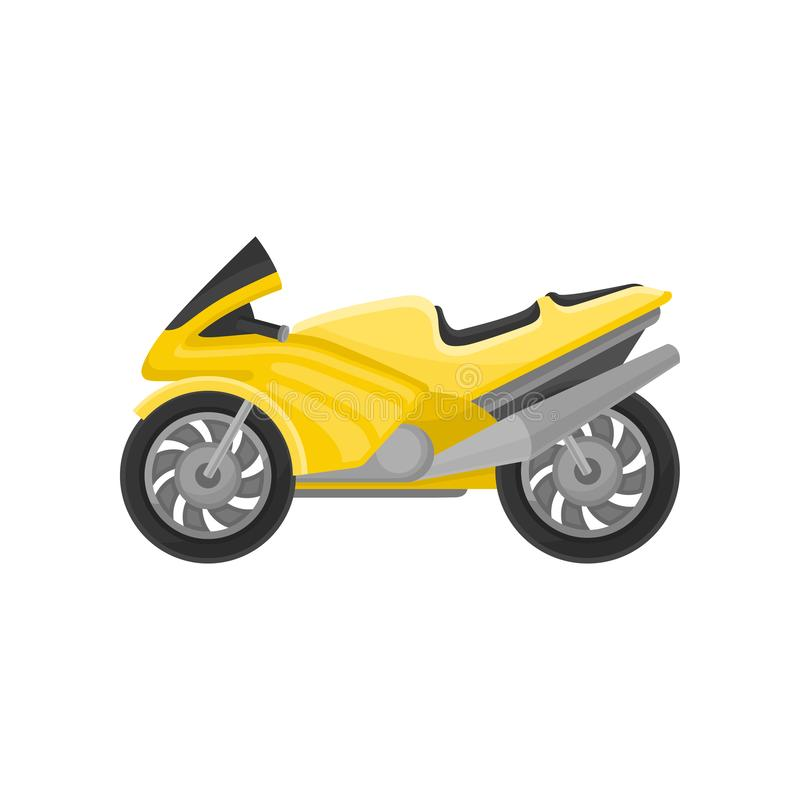 Bright yellow racing motorcycle. Modern sport bike. Two-wheeled motor vehicle. Flat vector icon vector illustration