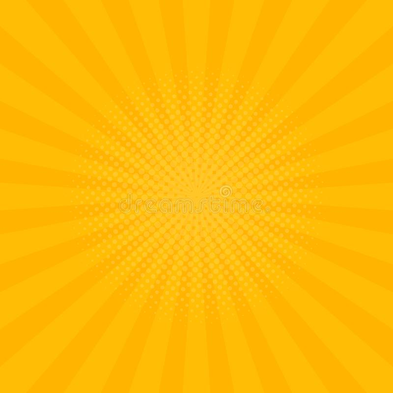 Bright yellow rays background. Comics, pop art style. Vector. Illustration vector illustration