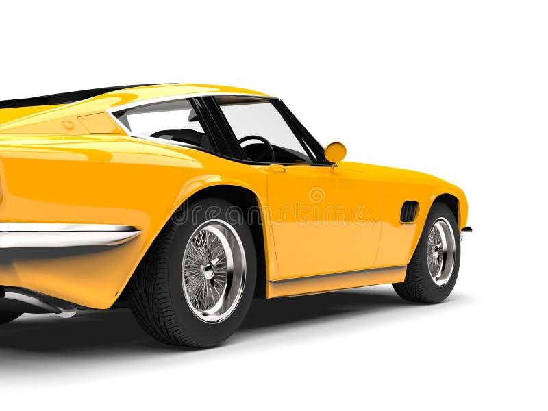Bright yellow vintage fast car - rear wheel closeup shot royalty free illustration