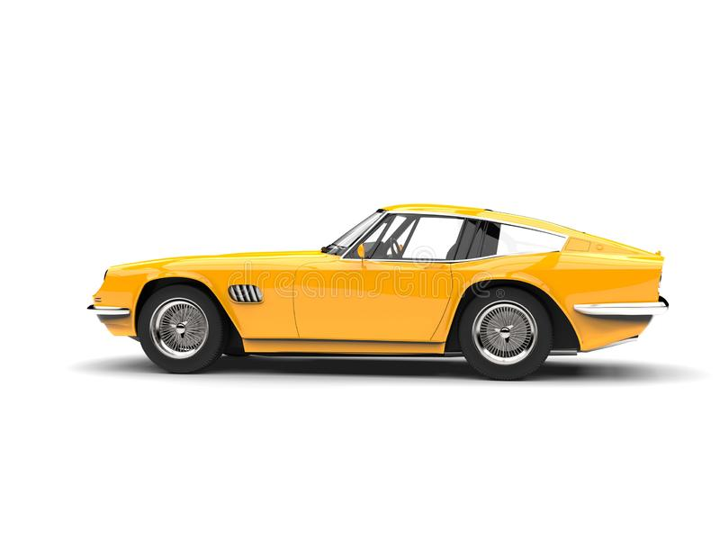 Bright yellow vintage fast car - tail view vector illustration