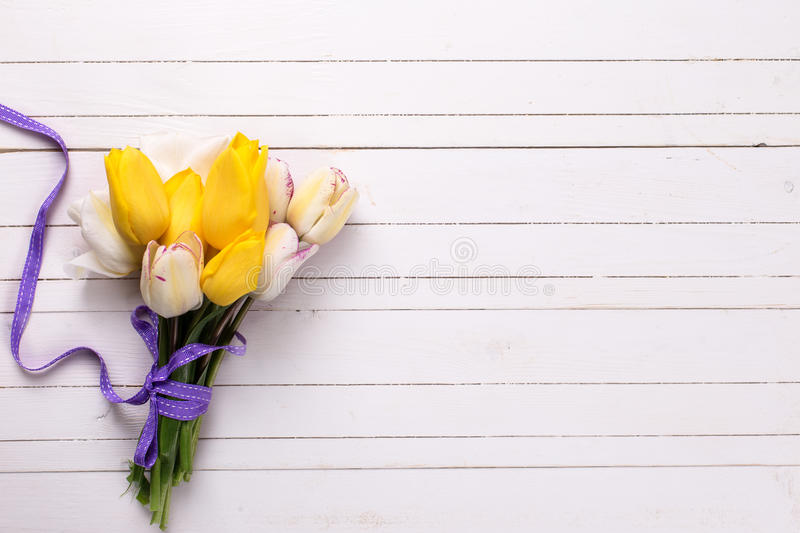 Bright yellow and white spring tulips on white wooden background. Selective focus. Place for text stock image