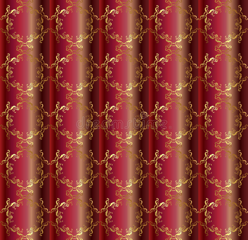 Brighter Ruby silk pattern. Asian silk seamless patterns. Decorative ornament on shades of dark Burgundy and brighter Ruby background royalty free illustration