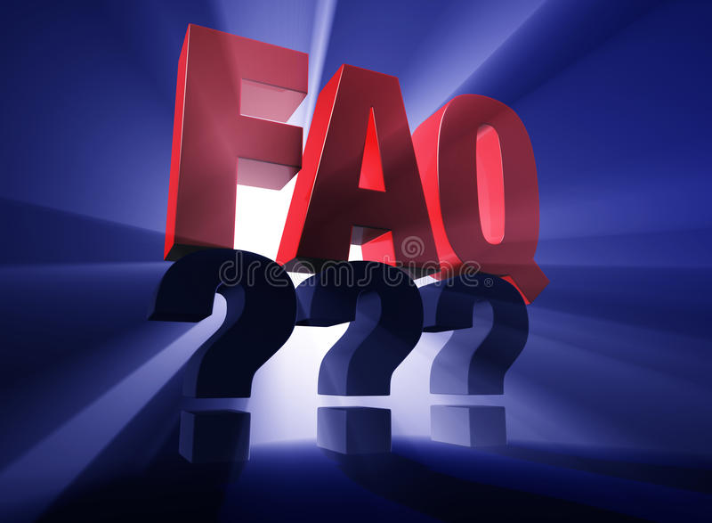 Brightly Backlit FAQ Over Questions. Bold, brilliant; bright; red FAQ atop a dark gray ??? on a dark blue background brilliantly backlit with light rays shining royalty free illustration