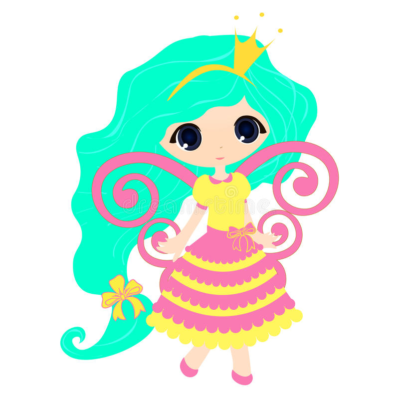 Brightly Beautiful fairytale Cartoon Illustration Princess. For Children Education. vector game for children, a cute fairy on a white background stock illustration