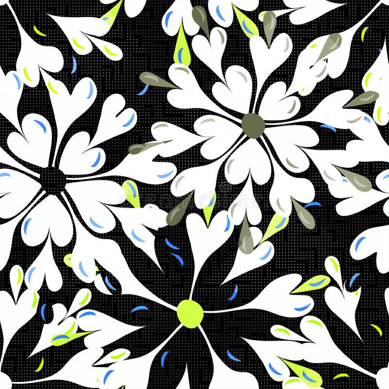 Brightly colored abstract flowers on a black background seamless pattern vector illustration royalty free illustration
