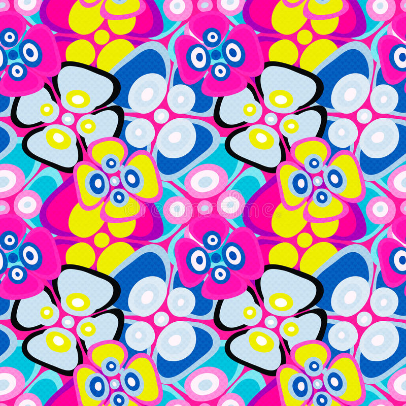 Brightly colored abstract flowers on a black background seamless pattern vector illustration stock illustration