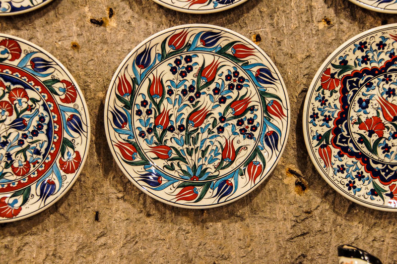 Brightly colored porcelain bowls. From pottery factory in Avanos, Cappadocia, Turkey stock image