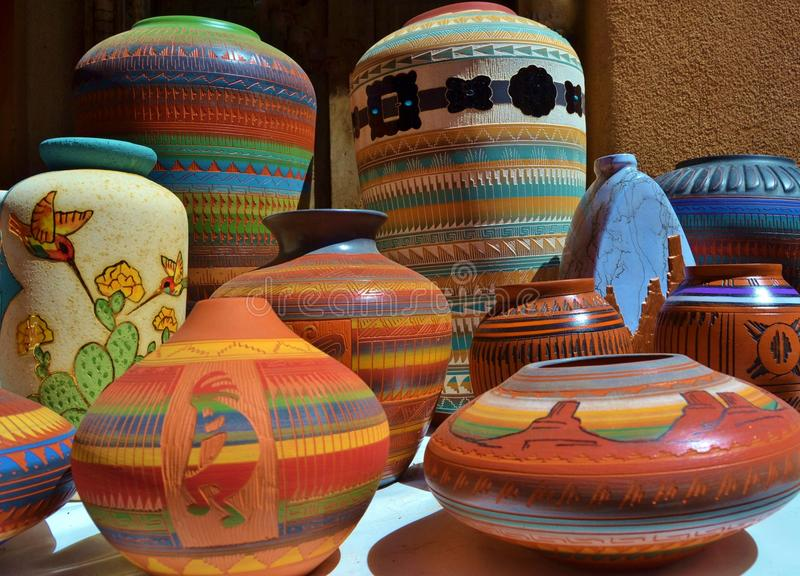 BRIGHTLY COLORED SOUTHWESTERN CERAMIC CLAY POTTERY stock image