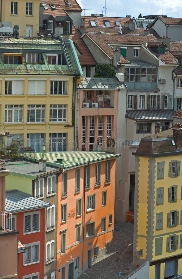 Brightly Colored street buildings. Brightly Colored buildings in Lausanne, Switzerland stock photo