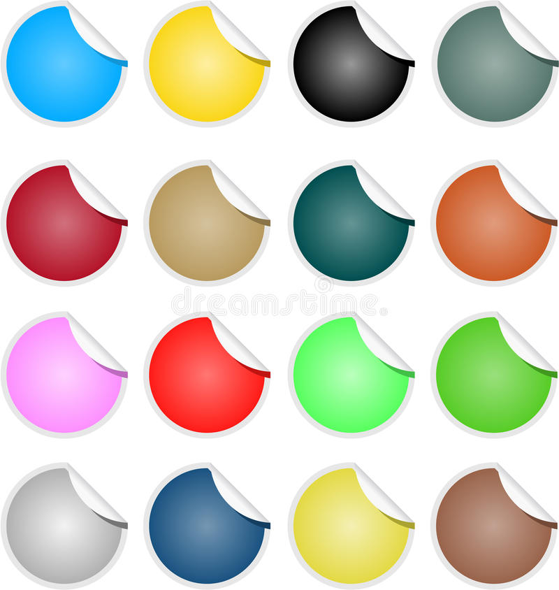 Brightly Colored Web Elements Sale Tag Stickers. In circular stock illustration