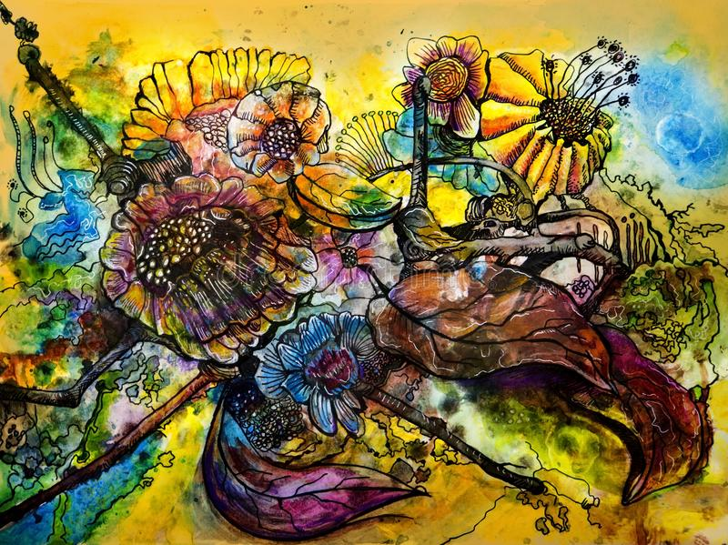 Brightly colored wild flowers in water color abstract stock image