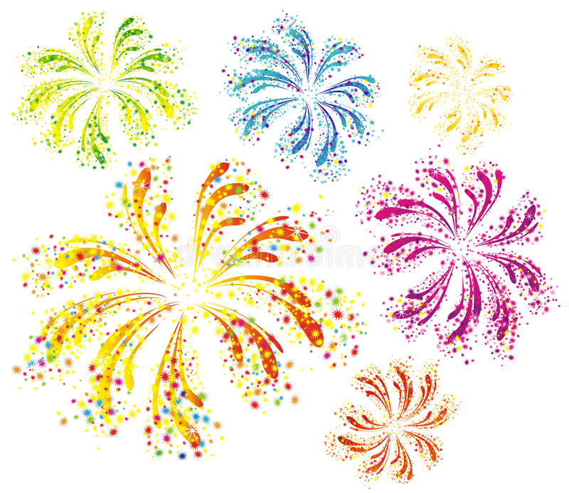 Brightly colorful fireworks. Isolated on white background vector illustration