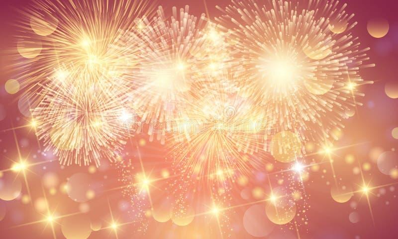 Brightly Colorful Fireworks background. Backdrop royalty free illustration