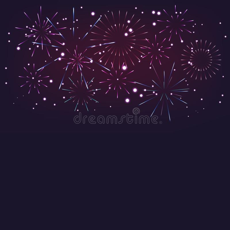 Brightly Colorful Fireworks celebration on twilight colorful fireworks vector on dark blue background with sparking bokehs. royalty free illustration