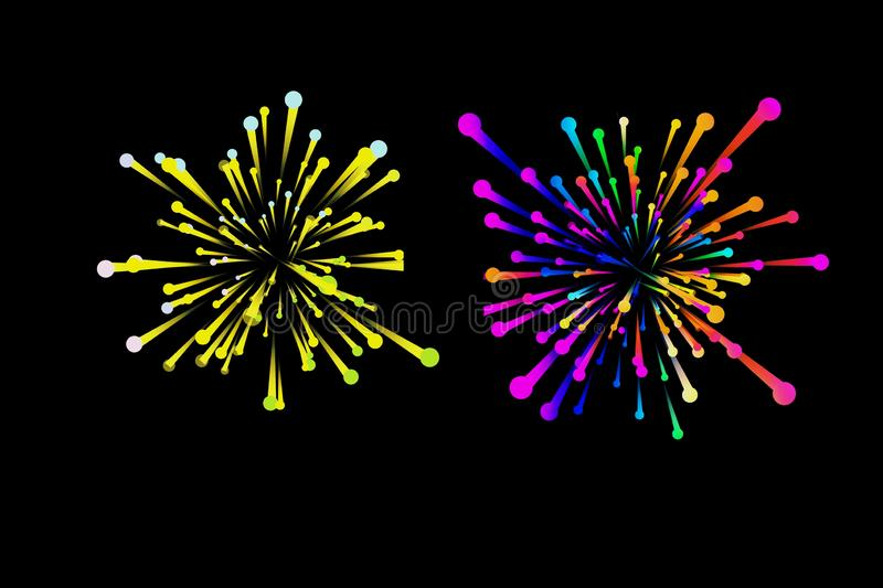 Brightly colorful fireworks on dark background vector illustration