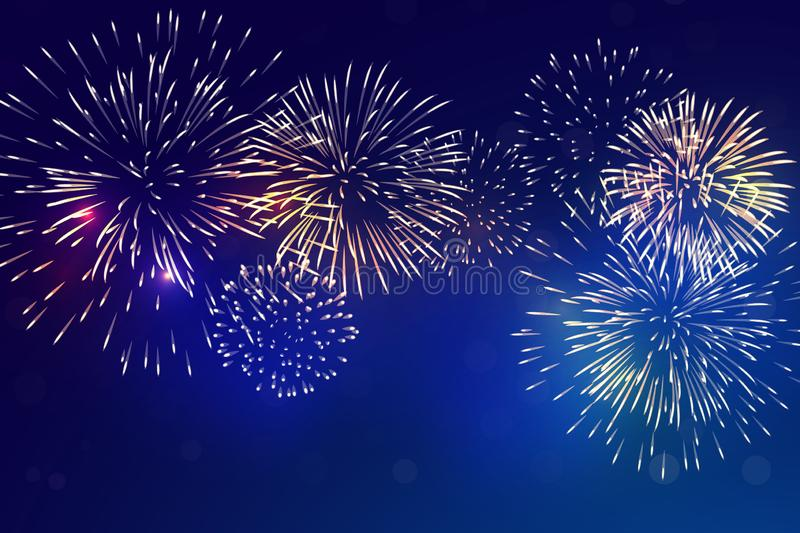Brightly colorful fireworks with pale smoke stock illustration