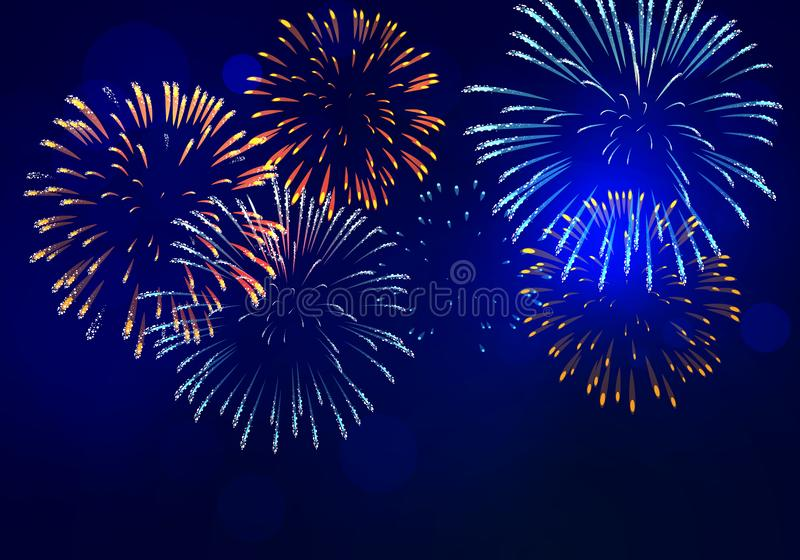 Brightly colorful fireworks with pale smoke from fire vector illustration