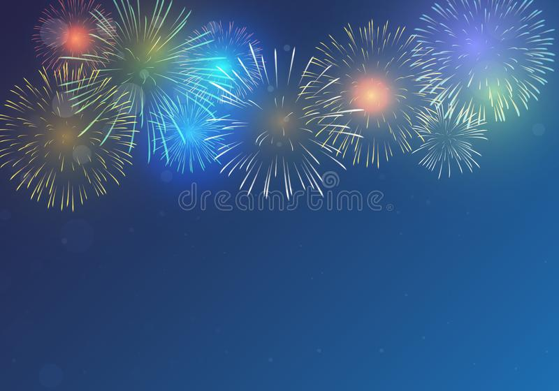Brightly colorful fireworks with pale smoke from fire on twilight background vector illustration