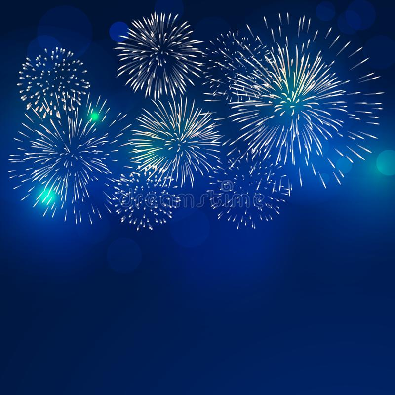 Brightly colorful fireworks with pale smoke from fire royalty free illustration